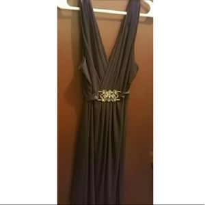 Fashion Bug Black Ribbon Faux Wrap Dress